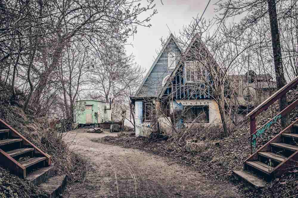 Copenhagen Christiania: Picturesque huts on a small street in the winter