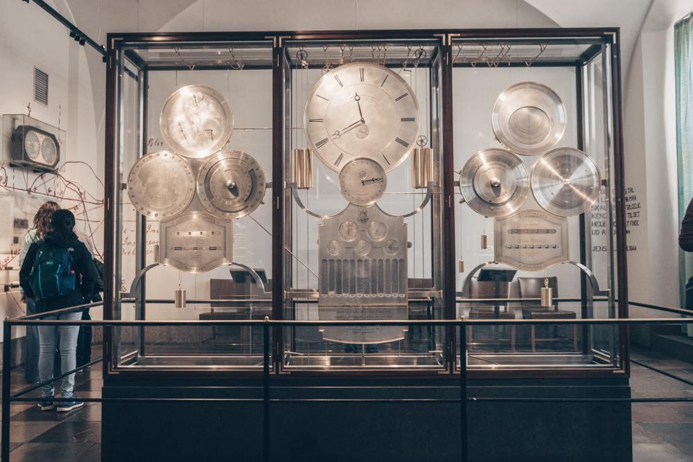 Copenhagen City Hall: The marvelous Jens Olsen's World Clock encased in a glass cabinet