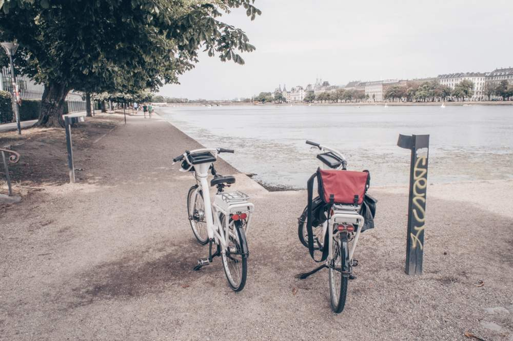2 Days in Copenhagen - Two bikes parked at the shore of the artificial lakes
