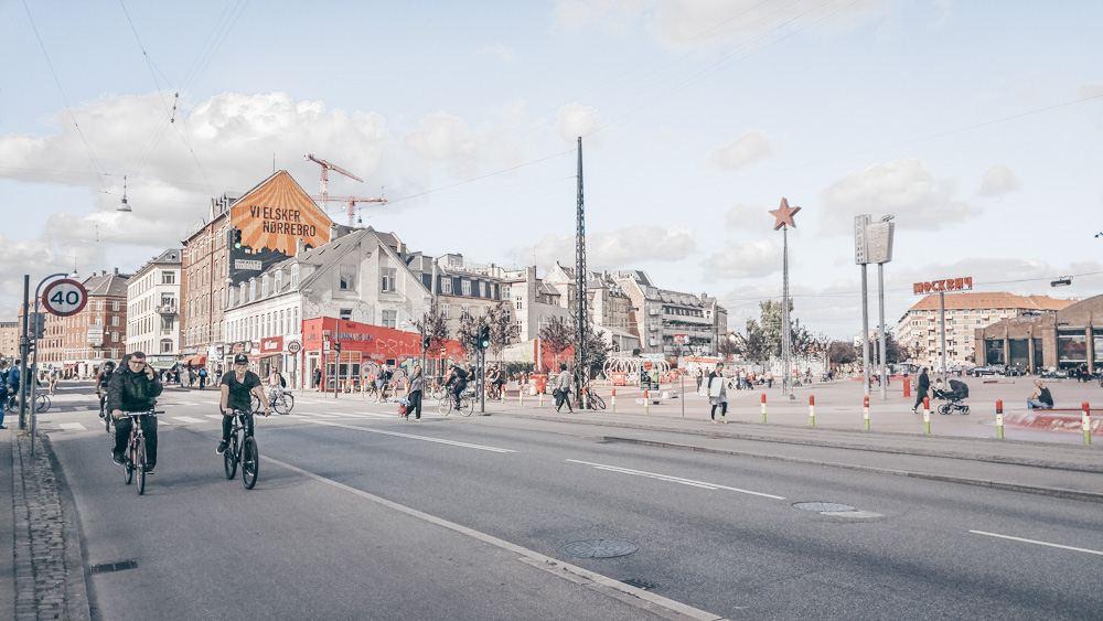 Copenhagen Neighborhoods: People cycling along Nørrebrogade