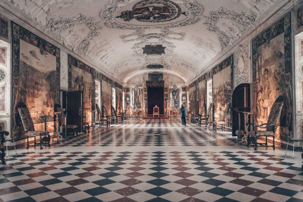 Points of interest in Copenhagen: 17th-century tapestries and the King's throne inside the Long Hall in Rosenborg Castle