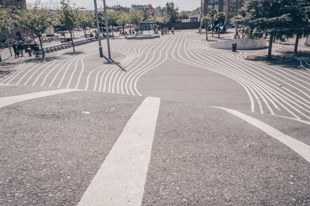 Places to see in Copenhagen: The wavy lines of the pavement of Superkilen Park in Nørrebro