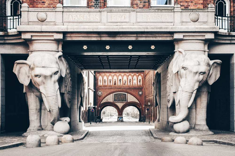 Must-see places in Copenhagen: Four life-size granite elephants at Visit Carlsberg center
