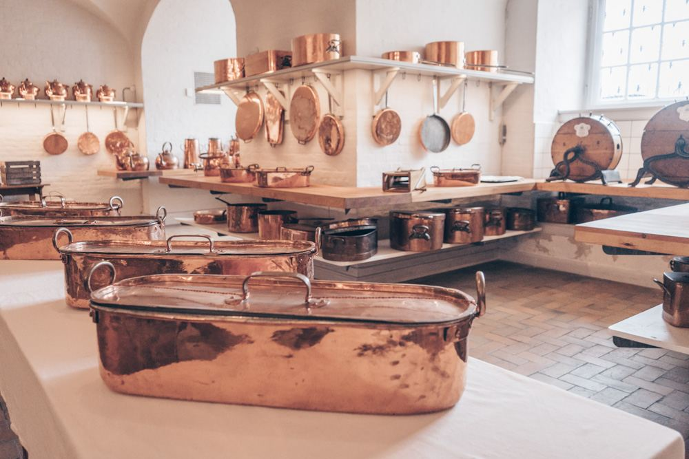 Christiansborg Palace: Shiny copper pots and pans inside the Royal Kitchen