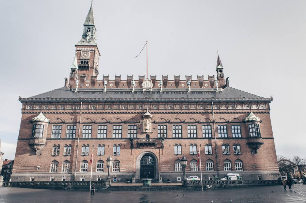 Points of interest in Copenhagen: The red-brick exterior of Copenhagen City Hall
