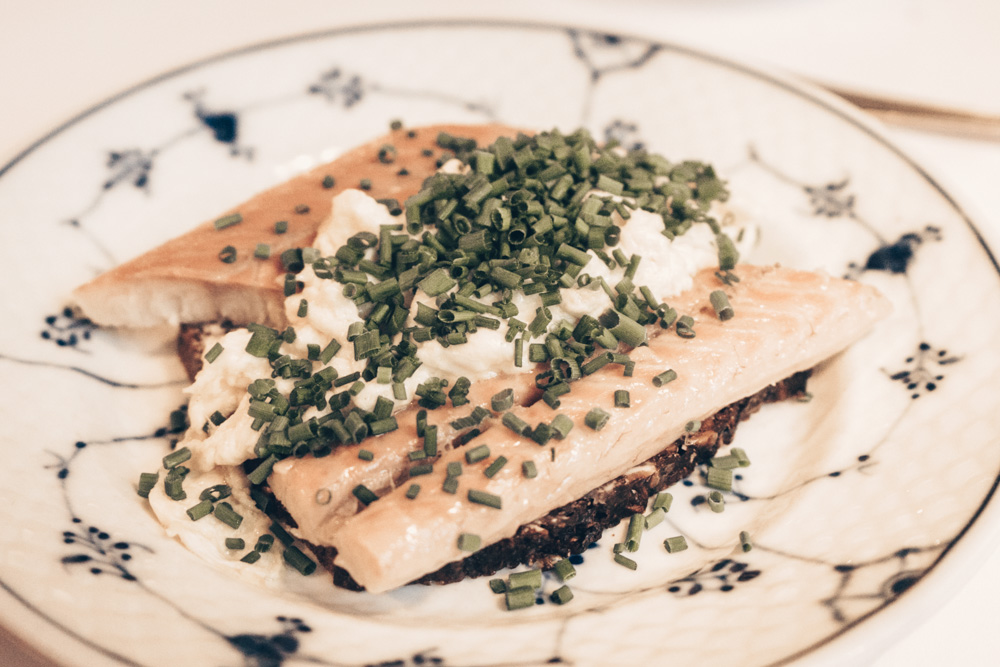 Danish food: Smørrebrod consisting of salmon, chives and sour-cream