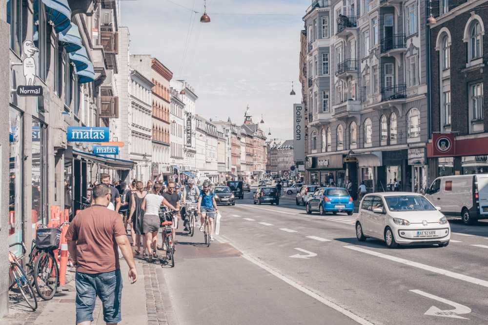 Copenhagen Neighborhoods: People walking an cycling on Vesterbrogade in Vesterbro