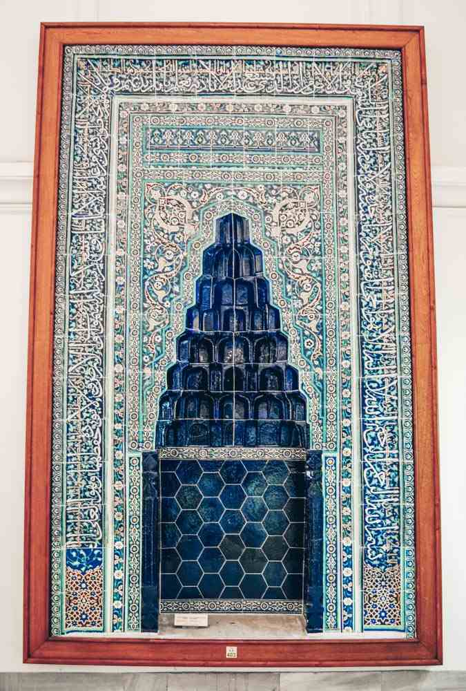 Istanbul Archaeology Museums: A lovely 14th century mihrab with blue and white calligraphy. PC: Alizada Studios/shutterstock.com