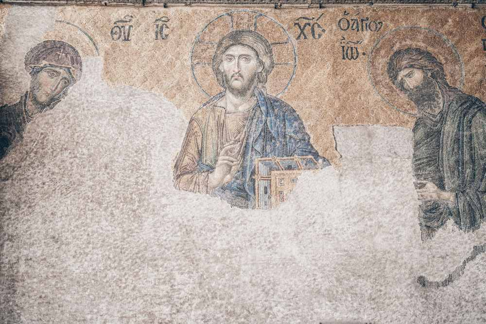 Three Days in Istanbul: Deësis mosaic depicting Christ Pantocrator with John the Baptist and the Virgin Mary