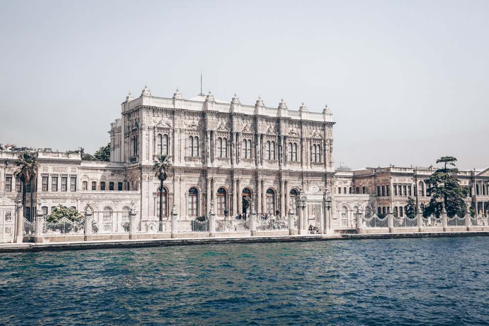 Istanbul Palaces: The exterior of the sprawling Dolmabahce Palace.