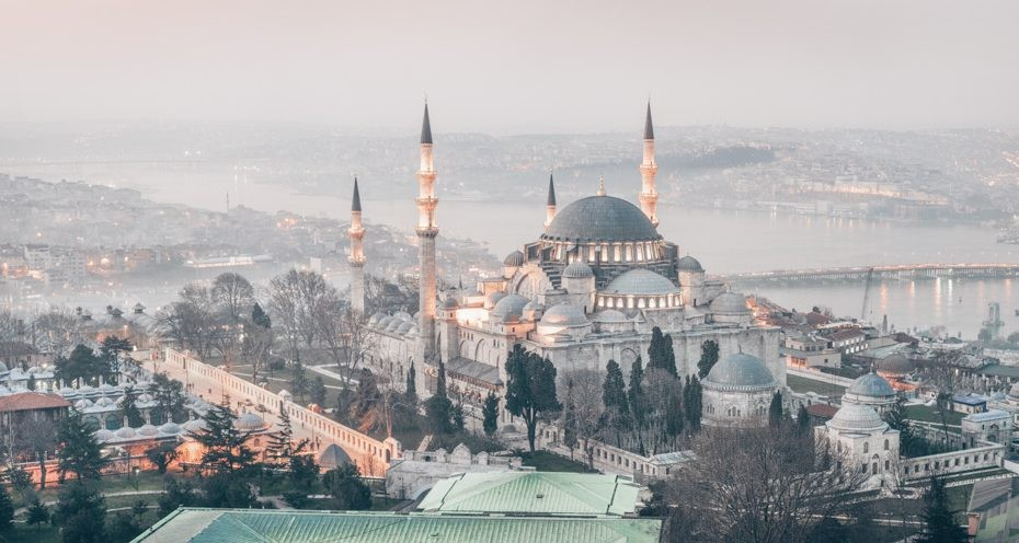 Three Days in Istanbul: The illuminated domes and minarets of the famous Suleymaniye Mosque.
