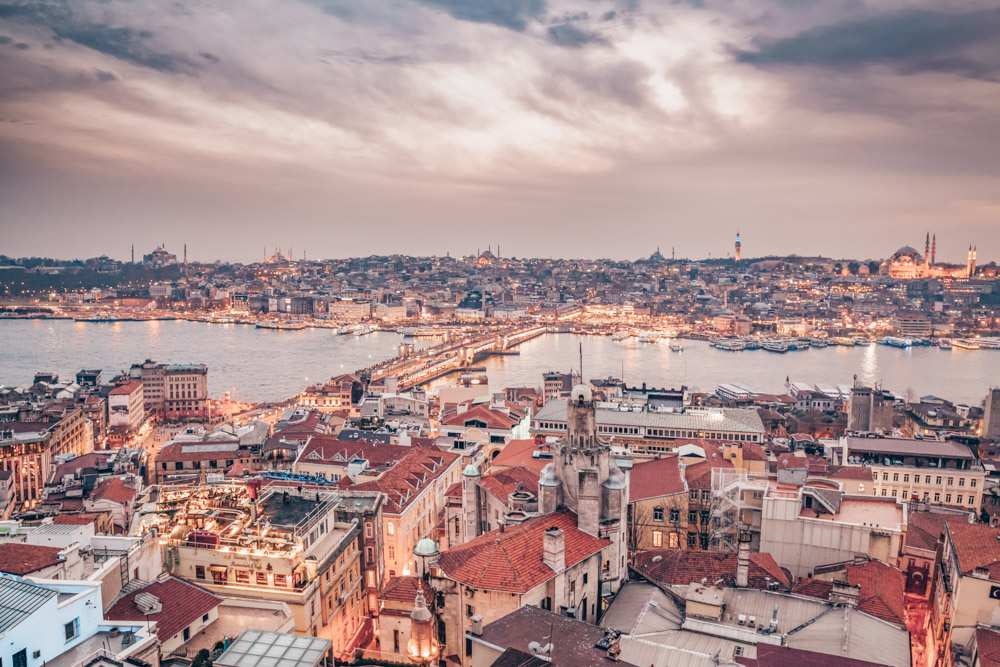 Istanbul Galata Tower: Panoramic view of the Golden Horn in the evening.
