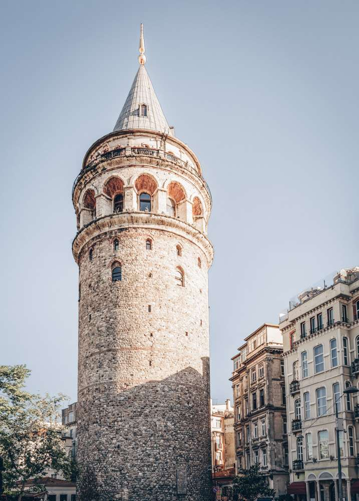 Points of interest in Istanbul: The spindle-shaped Galata Tower at sunset.