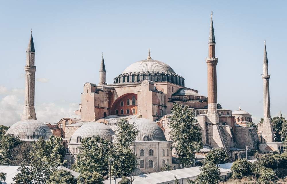 What to see in Istanbul: Minarets and domes of the famous Hagia Sophia (Aya Sofya)