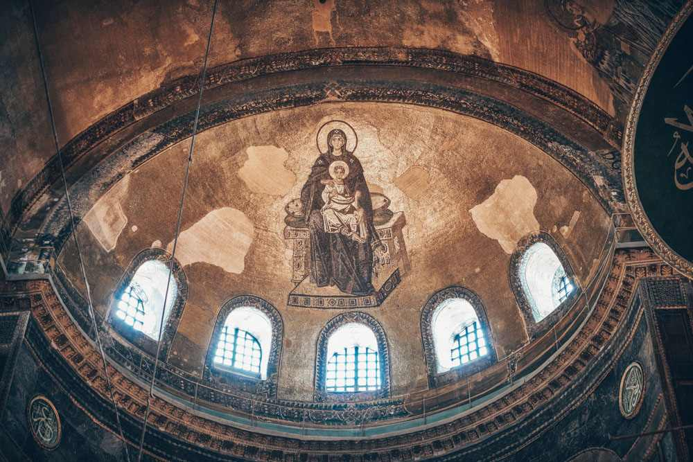 Istanbul city tour: The magnificent 9th century mosaic of the Virgin and Christ Child in Hagia Sophia.