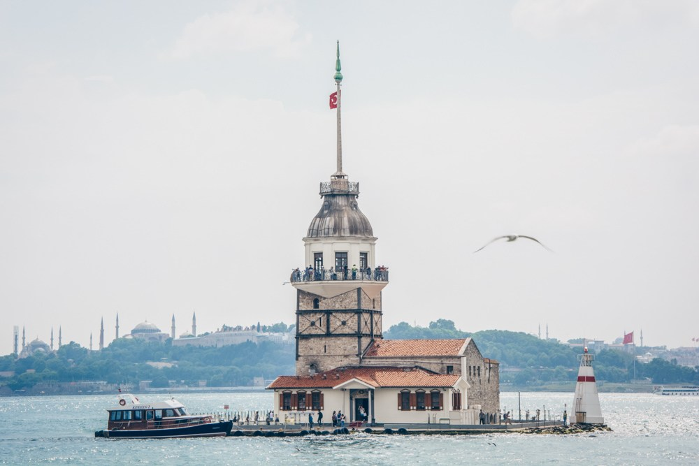 Istanbul cruise: The famous Maiden's Tower in the Bosphorus.