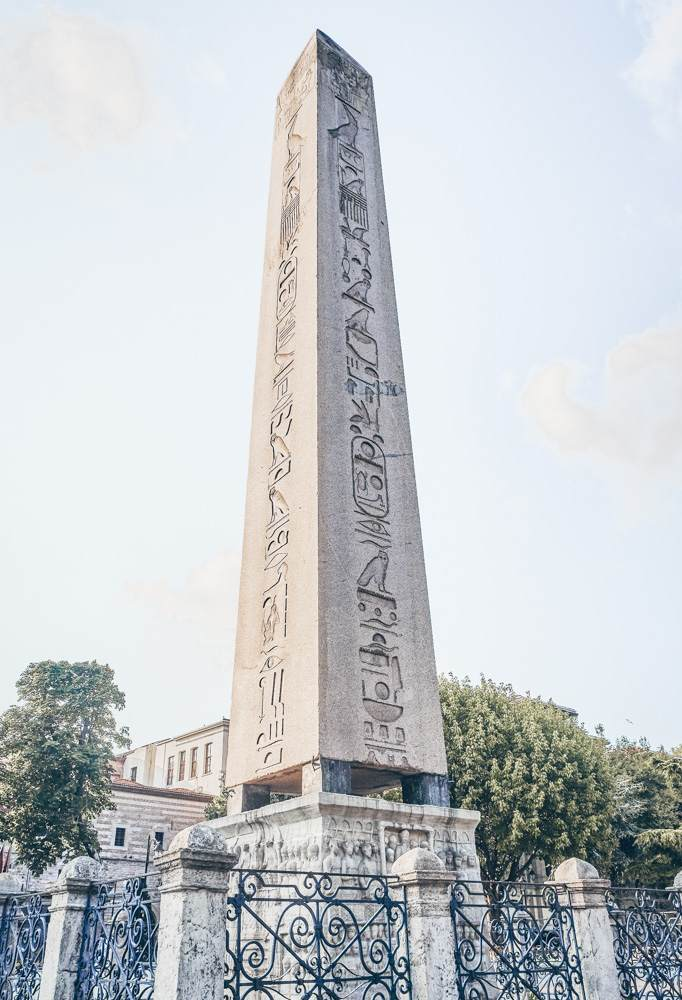 Things to do in Istanbul: The hieoroglyphics on the Obelisk of Theodosius in Sultanahmet Square.