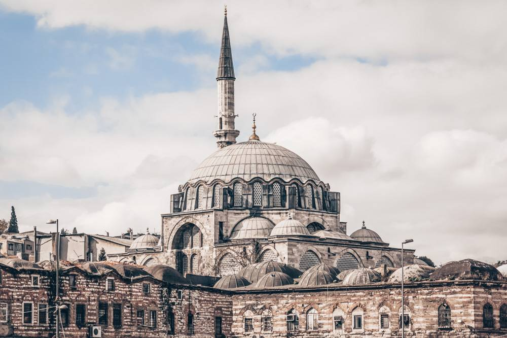 Istanbul Mosques: Domes and minaret of the Rustem Pasha Mosque.