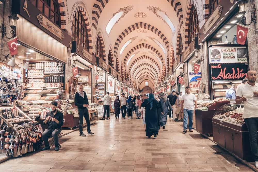 Weekend in Istanbul: People walking in an alley inside the Spice Bazaar.