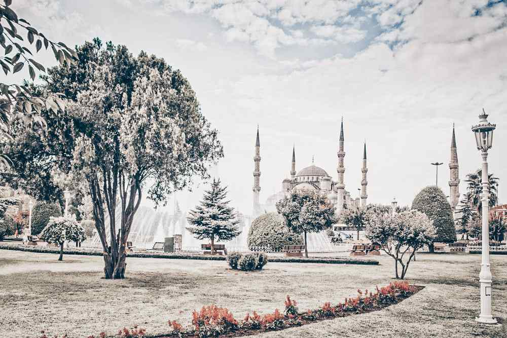 3 Days in Istanbul: The gardens of Sultanahmet Square with the Blue Mosque in the background.