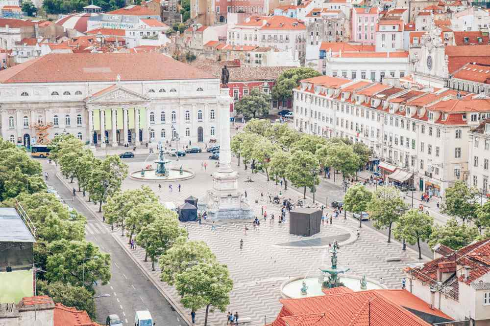 Things to see in Lisbon: Aerial view of the famous Rossio Square
