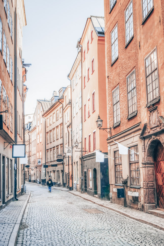 Things to do in Stockholm: The quiet, narrow cobbled street of Österlånggatan in Gamla Stan (Old Town)