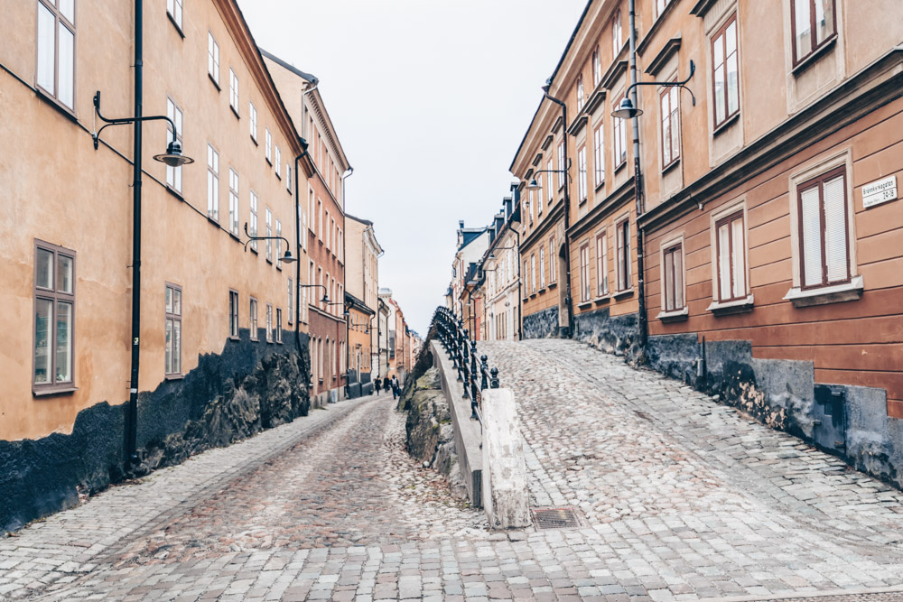 Stockholm Södermalm: An old-fashioned cobblestone street with old wooden cottages