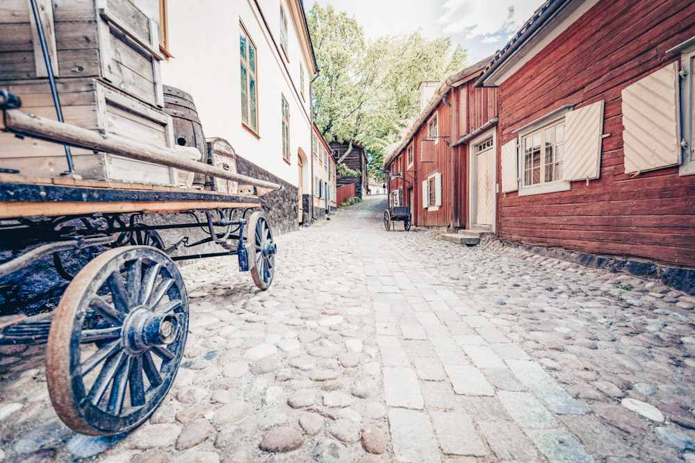 Weekend in Stockholm: Traditional Old Town Quarter in Skansen, the world's oldest open-air museum