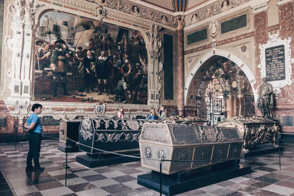 Roskilde Cathedral: Christian Iv's Chapel featuring white alabaster sepulchers, and paintings