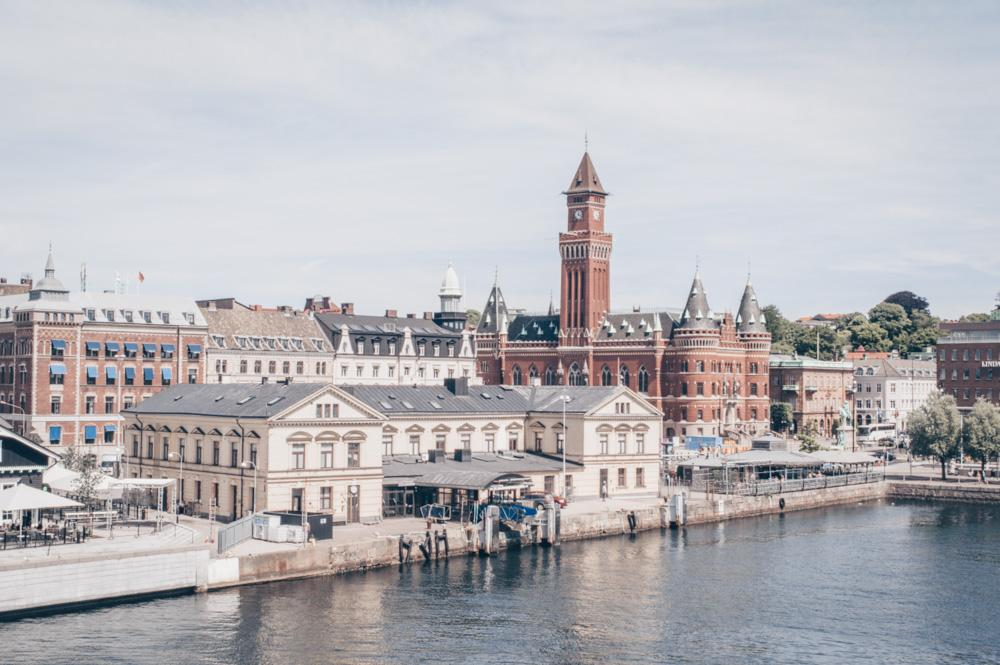 Day Trips from Copenhagen: Panoramic view of Helsingborg including its famous City Hall