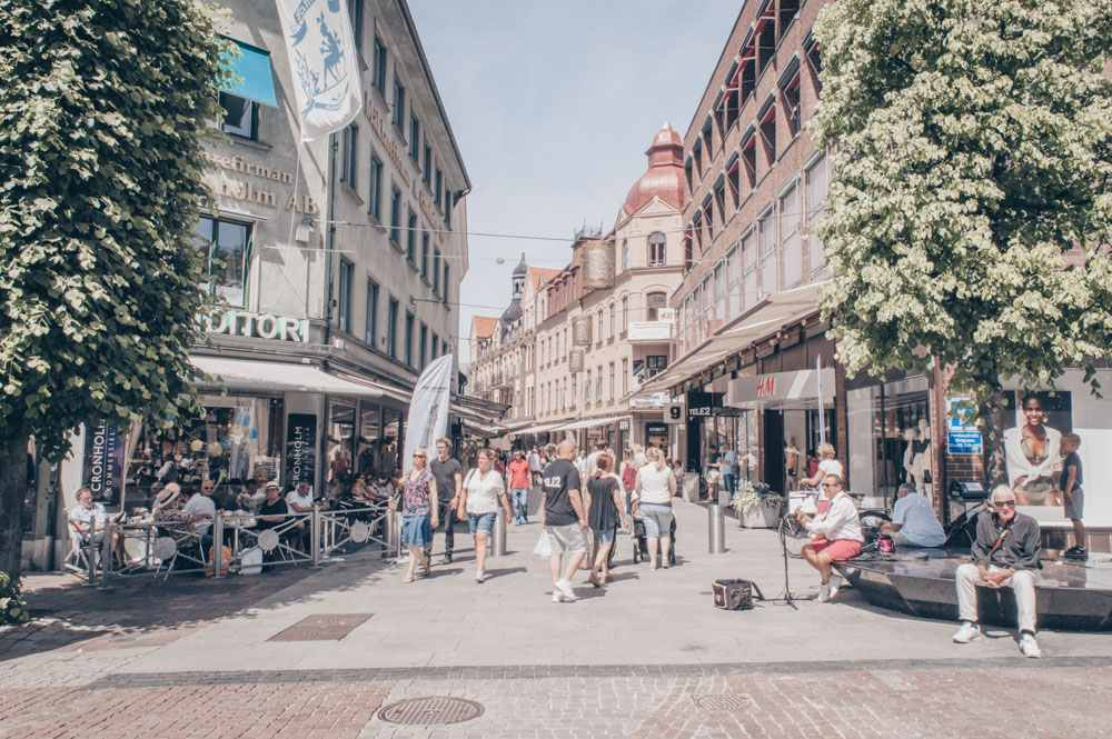 Places to visit in Sweden: People on the city center of Helsingborg