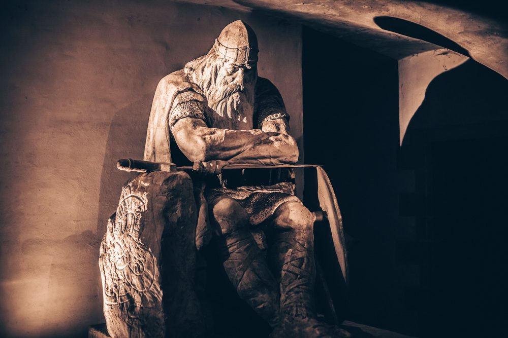 Kronborg Castle: The statue of the Danish folk hero Ogier the Dane in the catacombs. PC: RPBaiao/shutterstock.com