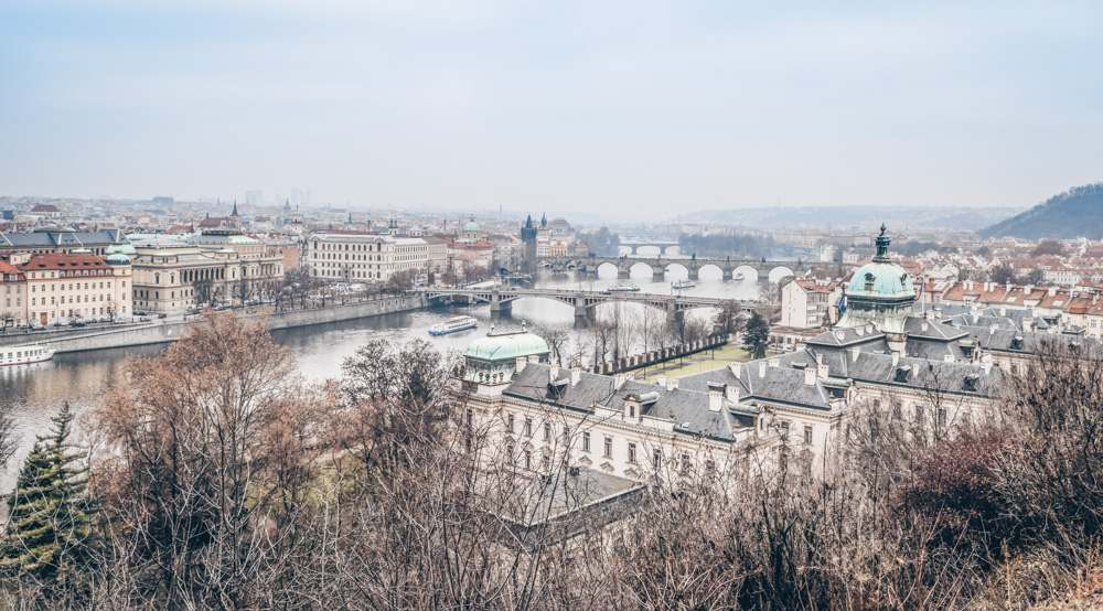 Prague viewpoints: Panorama of River Vltava and Prague's bridges from Letna Park