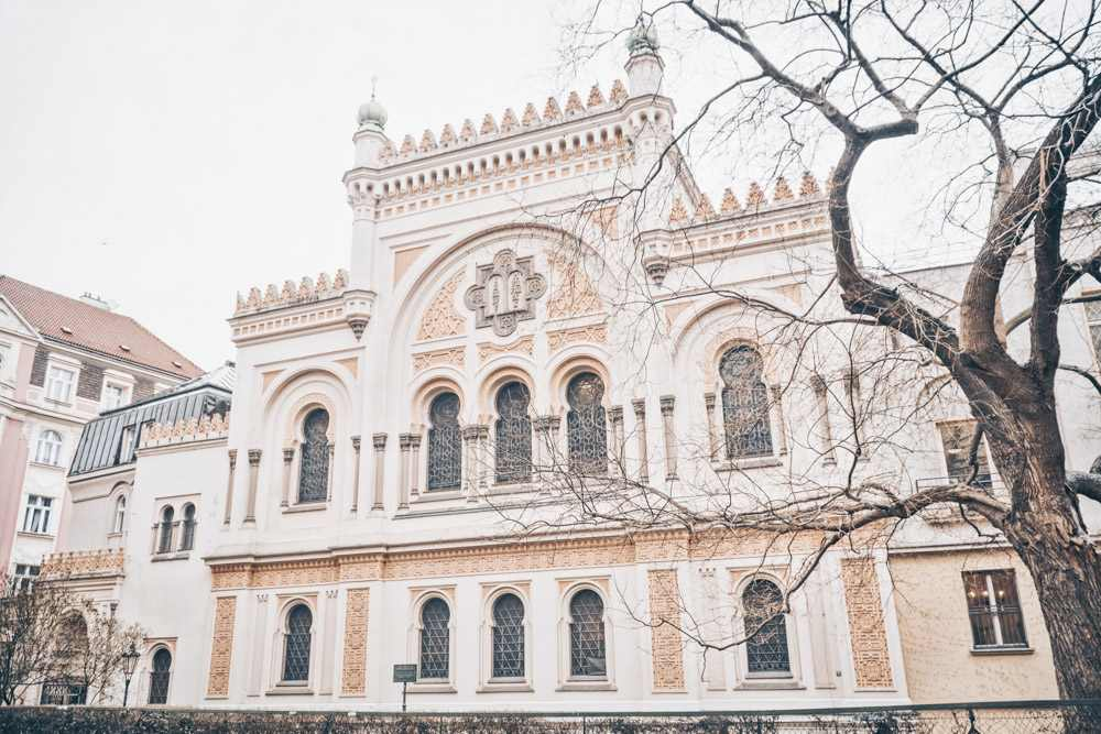 Prague Jewish Quarter: Facade of the Spanish Synagogue with elaborate tracery, and pseudo-minarets.