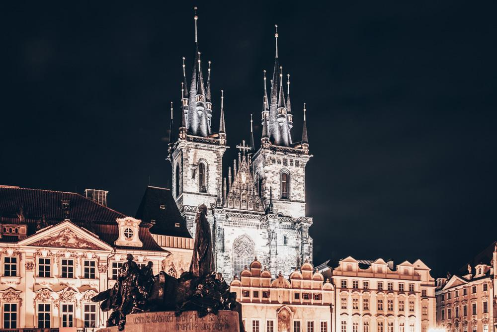 Instagrammable Prague: The stunning Gothic-style Tyn Church at night