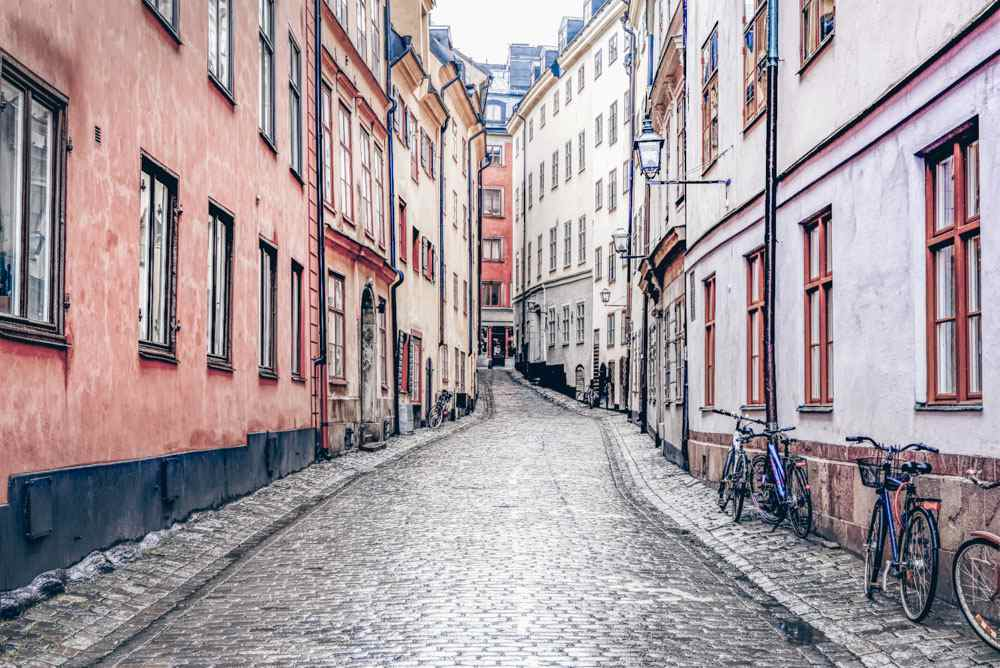 24 Hours in Stockholm: A quiet,cobblestone street in Gamla Stan (Old Town)