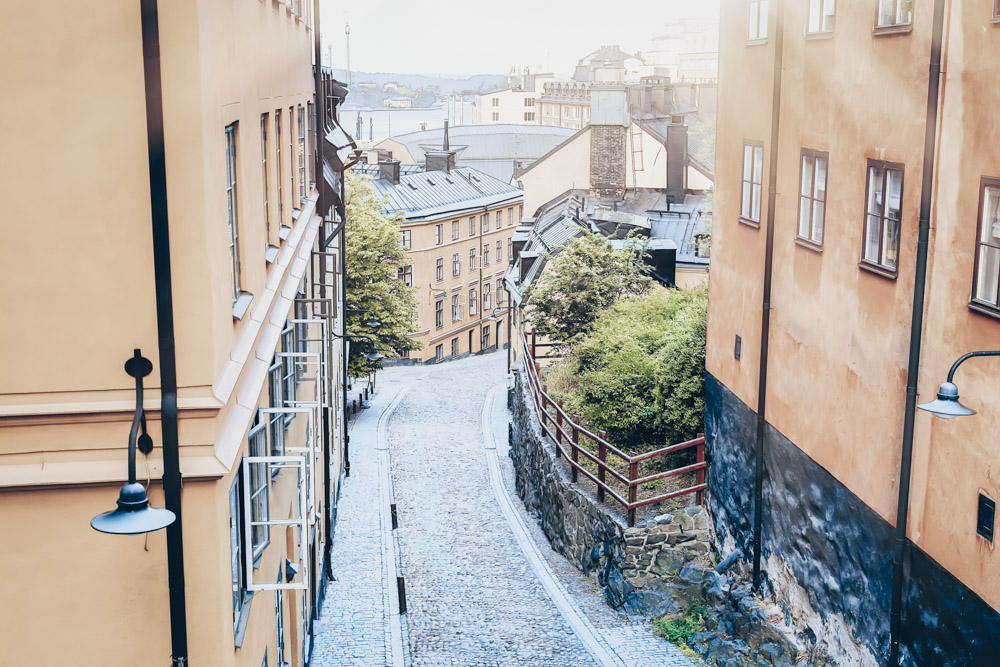 One day in Stockholm: A narrow cobblestone street in Södermalm with medieval houses