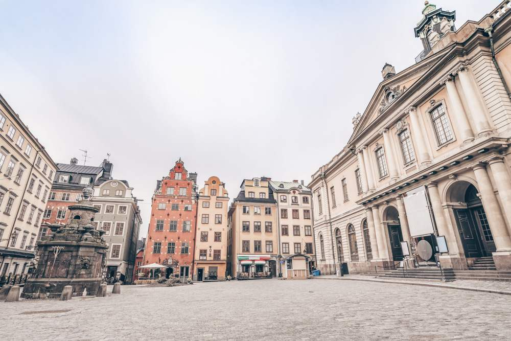Must-see Stockholm: Panoramic view of Stortorget, the main square in Gamla Stan (Old Town)