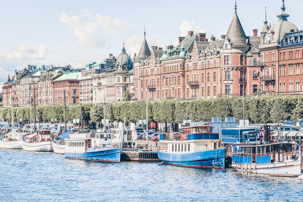 Stockholm neighborhoods:  The magnificent tree-lined Strandvägen esplanade overlooking the waterfront