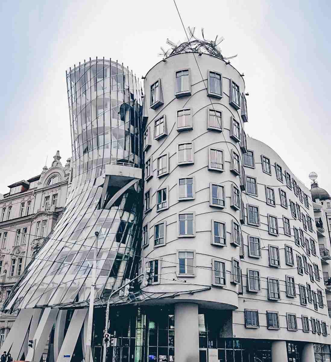 Instagram locations in Prague: The famous Dancing House building, named after Fred Astaire & Ginger Rogers.