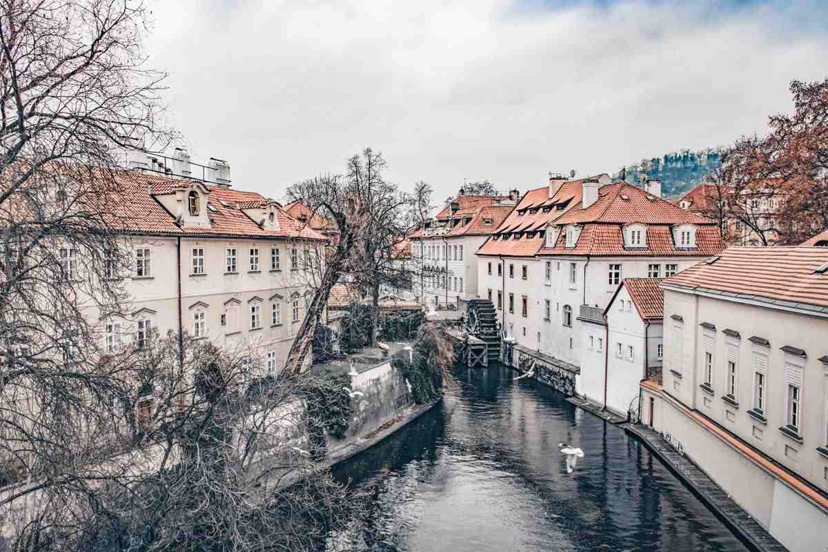 Beautiful places in Prague: Devil's Stream is an artificial channel separating Kampa Island from the Lesser Town