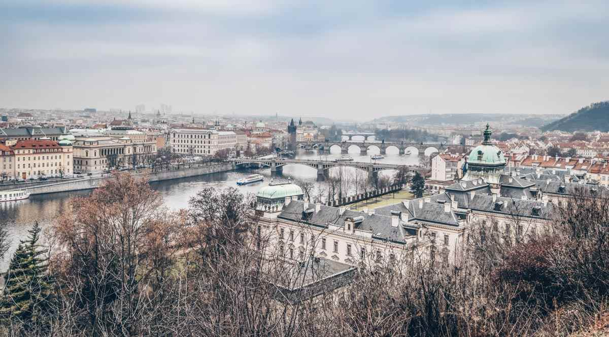 Prague viewpoints: Panoramic view of Prague and the tranquil Vltava River with its many bridges