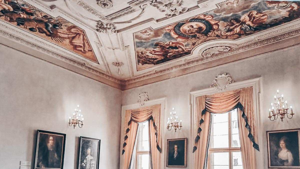 48 Hours in Prague: Paintings and ceiling frescoes inside Lobkowicz Palace.