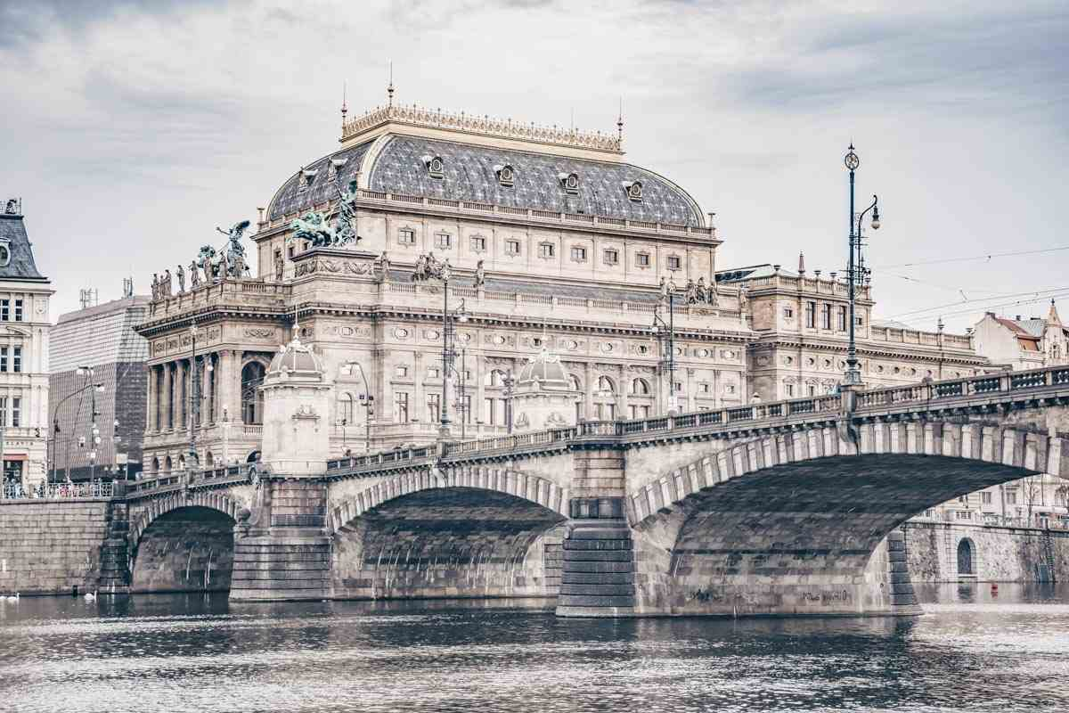 Things to do in Prague: The gold-crested exterior of the Neoclassical National Theatre