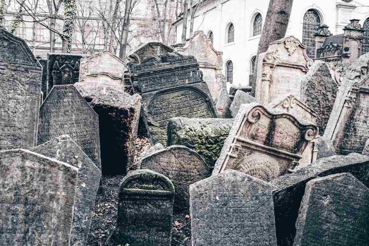 Two Days in Prague: Scores of lopsided tombstones inside the Old Jewish Cemetery.