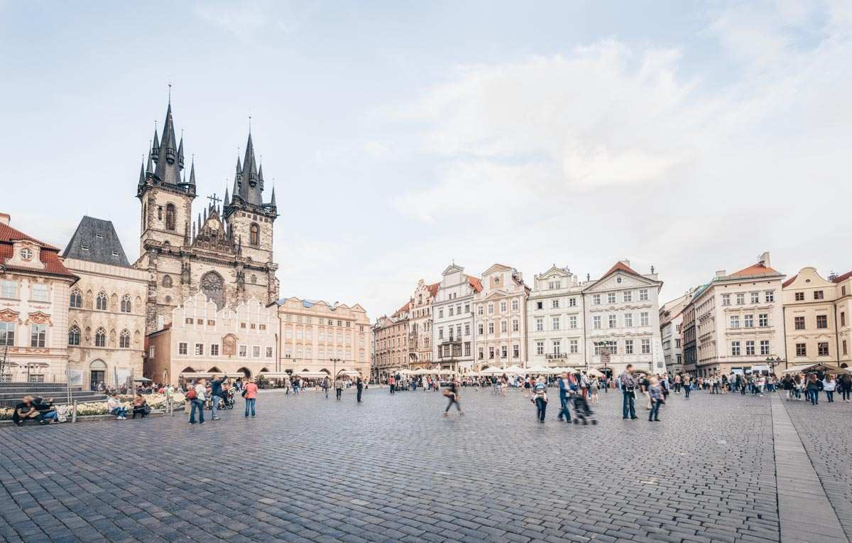 2 Days in Prague: Panoramic view of the Old Town Square with Tyn Church in the background