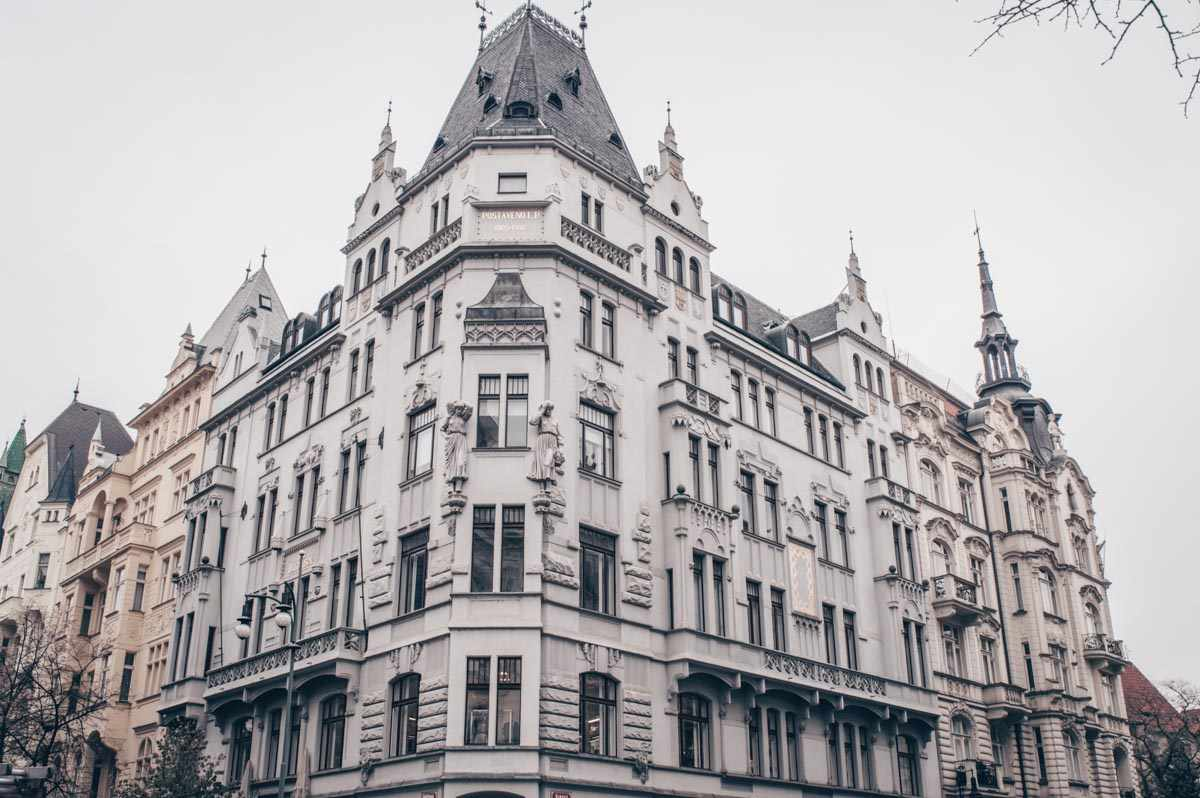 Prague architecture: Swanky Art Nouveau buildings on the elegant Parizska Street