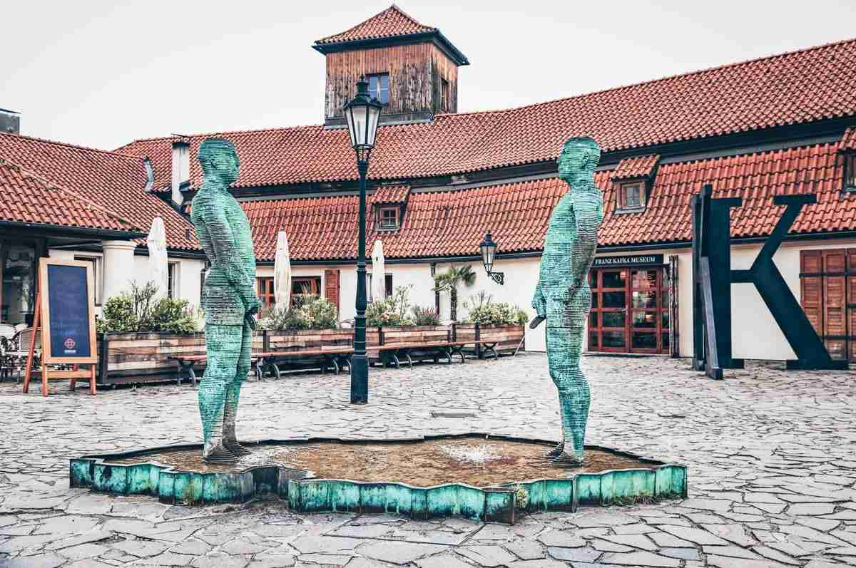 Prague Piss Sculpture: 2 gyrating, butt-naked mechanical men urinating into a pool. PC: Eteri Okrochelidze/shutterstock.com