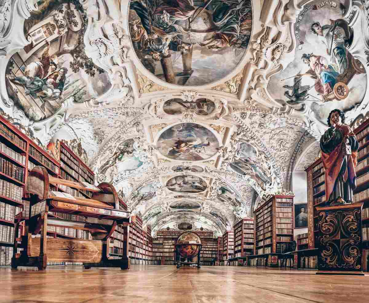 Prague Strahov Monastery: Ornately decorated ceiling frescoes and manuscripts in the Theological Hall