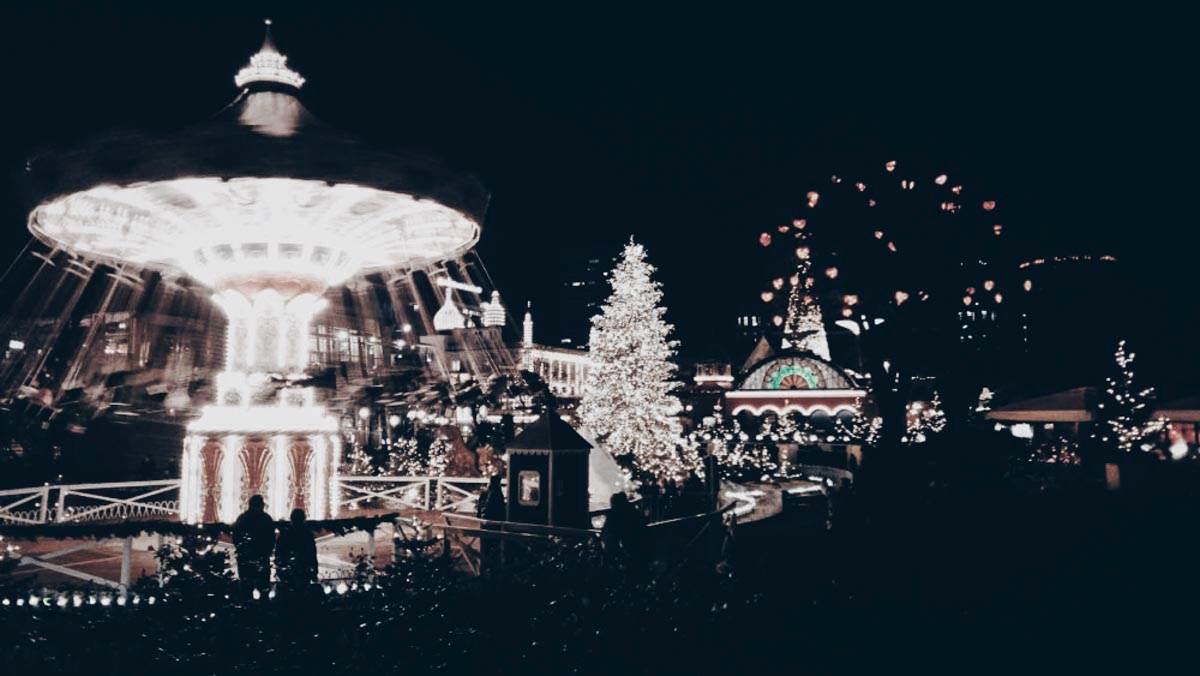 Tivoli in Copenhagen decorated for Christmas
